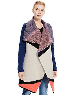 Open Front Patchwork Waterfall Cardigan