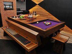 Versatilidade!!! Esta mesa é ideal para quem quer muito uma mesa de bilhar e tem um espaço limitado.  Com tampo fechado ela é uma linda mesa de jantar retirando o tampo você já pode começar a se divertir. Destaque também para os bancos que armazenam os tacos, giz, bolinhas, etc.