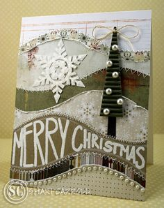 Pieced & Stitched Christmas Card...with snowflake & tree.