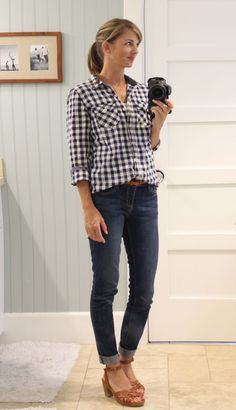 navy gingham shirt, jeans and wedge sandals