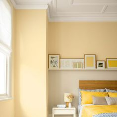 Update your bedroom with bright and cheerful yellow tones that are perfect for spring. From yellow paint to yellow wallpaper and yellow bedroom accessories, there are ideas here for everyone. Yellow Painted Rooms, Yellow Bedroom Paint, Girl Bedroom Walls, Bedroom Wall Colors, Bedroom Color Schemes, Home Bedroom, Yellow Bedrooms, Bedroom Decor, Bedroom Ideas