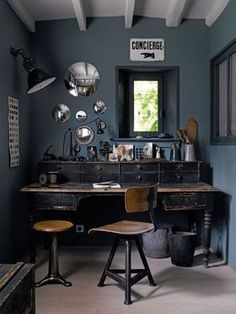 vintage industrial-- desk, hubcaps on wall.  Great for teen boy room