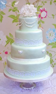 Romeo & Juliet Cakes - Francesca wedding cake with lace, pearls and cherubs in pearlescent green and white sugar peony