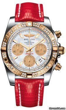 Breitling Deployant Buckle chronograph gold/steel case with lizard skin bracelet and automatic movement
