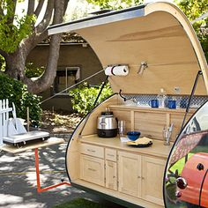 Teardrop trailer: Cozy camping without a tent    This little room on wheels is so easy to handle, it can be hitched to a Mini Cooper.    Its standard design includes a bed, kitchen, and cabinets, but custom add-ons get as crazy as espresso makers and solar showers.    Teardrops range from $3,500 for used to $12,000 for a custom model. Buy or rent them at Vacations in a Can (from $175 for two nights) in Penngrove, California. (Read more in Sunset's July 2010 issue!)