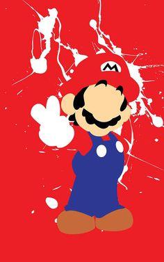 Super Mario Bros Mario Splatter minimalist poster by FADEGrafix