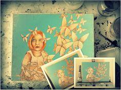 Acrylmalerei fürs Kinderzimmer oder für Deine Bücherwand. Origami Schmetterlinge aus Buchseiten, für Leseratten oder als Geburtstagsgeschenk  für Schmetterlings-Freunde und Träumer. Ein Bild für alle Kind geblieben, die wissen: wenn das richtige Buch mich findet, dann kann beim Lesen alles wahr werden..dann können Wörter und Geschichten fliegen.  http://atelierdorotheakoch.patternbyetsy.com/listing/280981884/bild-kinderzimmer-kunstdruck-leseratte