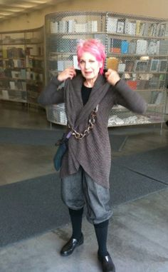 Debra Rapoport, 66 years old, bold pink hair