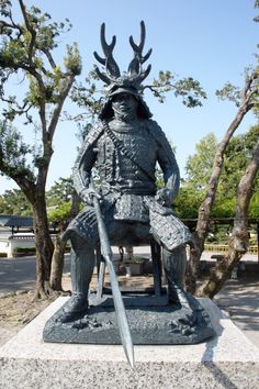 STATUE OF HONDA  TADAKATSU..........SOURCE BING IMAGES......... Samurai Weapons, Samurai Armor, Japanese Culture, Japanese Art, Oriental, The Last Samurai, Cherry Blossom Japan, Japanese Things, Japanese Aesthetic