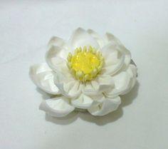 White lotus - tsumami kanzashi flower hair clip $25.00