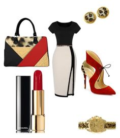 """""""Leaopard & red"""" by teneshiacampbell on Polyvore featuring Christian Louboutin, Edouard Rambaud, Daytrip, RED Valentino and Chanel"""