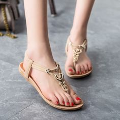 Beads Decorate Open Toe Slip-on Flat Beach Sandals. Sandals OutfitWomen s  Shoes ... a5d568fc3052