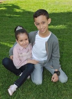 Crown Prince Moulay Hassan ( age 10) and his sister Princess Lalla Khadija (age 6) - the children of King Mohammed VI of Morocco and his wife Princess Lalla Salma of Morocco