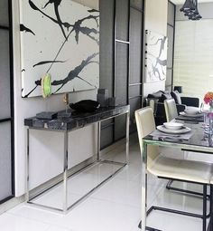 Simply STUNNING! #diningroom #ideas #petrified #consoletable #homedecor #homeliving #dining #modernliving www.janishhome.com