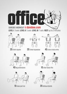 Even if work piles up in the office, you don't have to completely shove aside taking care of your fitness. This quick workout from DAREBEE can help keep your exercising momentum, or at the very least, offer a nice breather from a stressful day of work. All you need is an office chair.