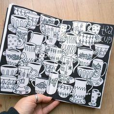 Klika Design: Creative Bug January Challenge with Lisa Congdon. Day 2: teacup pattern on black background.