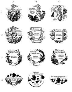 Projets non retenus de l'oblitération pour le bloc des Poissons Tropicaux (20-21/04/12). Réal. Olivier Ciappa et David Kawena. Celle retenue officiellement est la 4B © Phil@poste / La Poste, DR.