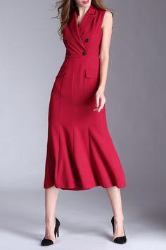 EOSCIY Sleeveless Lapel Collar Double-Breasted Dress