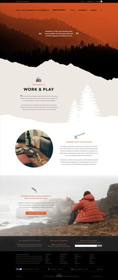 Layering colors within the NU palette and ending with the bg color for a more graphic hero. HUCKBERRY - Jimmy Gleeson Design. If you like UX, design, or design thinking, check out theuxblog.com