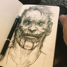 First drawing of #2016. My version of #dc #comics #thejoker  #artforfun #mokeskine #sketches #suicidesquad #batman #dcvillains #hny by bart_tiongson_art