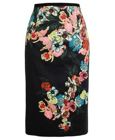 ERDEM - Floral Print Cotton Pencil Skirt
