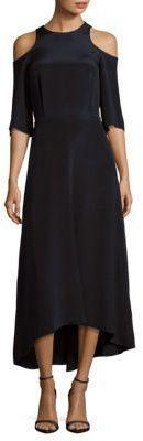 Tibi Silk Cold Shoulder Dress