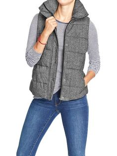 Black tweed quilted vest, from Old Navy. An alternative for the much pricier (but oh so lovely) herringbone vest from J. Crew.