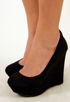 Just $16.50 - Per-Suede Me Wedge, Black Yes Please! This would work for retro, vintage, classy, sassy...