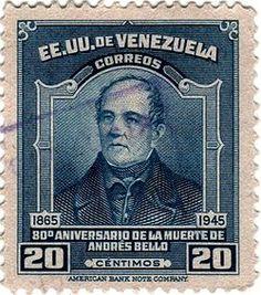 80 aniversario de la muerte de Andres Bello,estampilla de 1946
