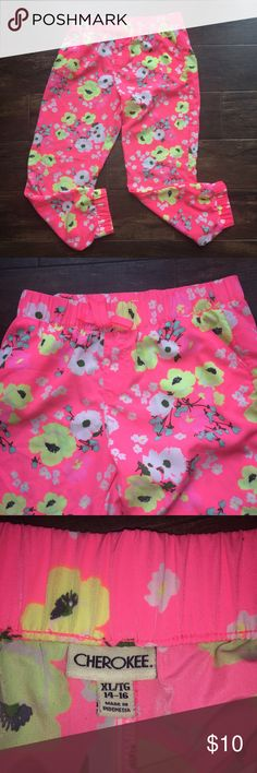 Girl's XL Neon Floral Athleisure Pants Girl's XL Neon Floral Athleisure Pants  -Like new -by Cherokee  -gathered elastic at leg hem and waistband -super comfy  Ship same day. Price firm but do offer bundle discount. No trades. Cherokee Bottoms Sweatpants & Joggers