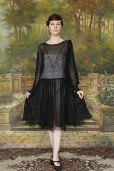 reserved .... Beaded 20s Dress . Bow . Sheer Black by VeraVague