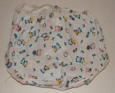 Vintage plastic baby diaper cover to protect from leakage of cloth diapers.