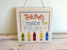 Teacher Gift Teacher Cross Stitch Teacher Decor Door by StarryNightsStudioCo | Etsy