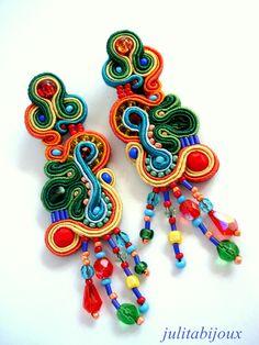 Boucles d'oreilles en soutache esprit bohème : Boucles d'oreille par julitabijoux