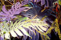 Bold Botanical Acrylic Painting: Painting of Tropical Plants by Carol Sims