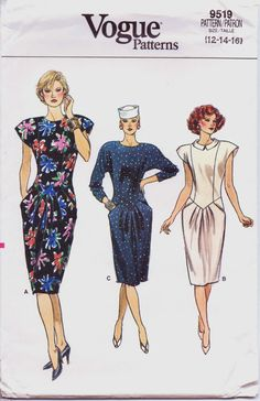 80s Vogue Pattern 9519 Womens Dropped Waist Dress with Pockets Size 12 14 16 Bust 34 36 38 UnCut
