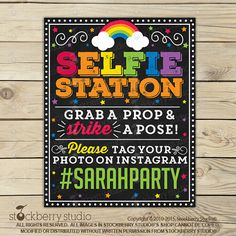 Photo Booth Sign Printable - Rainbow Party - Selfie Props - Hashtag Sign - Photobooth Sign - Rainbow Decorations - Selfie Station Sign