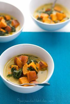 Thai Style Coconut Sweet Potato and Spinach Soup Recipe on gourmandeinthekitchen.com