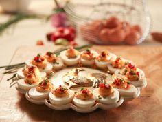 Get Pimento Cheese Deviled Eggs with Crispy Pancetta Recipe from Cooking Channel