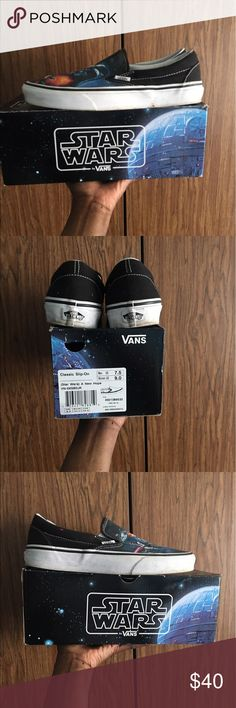Star Wars Vans. Super cool Star Wars Vans! In good condition, sole is a little dirty but looks better that way in my opinion. Size 9 women's or a Men's 7.. These are pretty hard to find now. #Vans #starwars #skate #cool #jedi #R2D2 Vans Shoes Sneakers