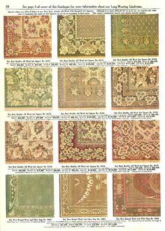 Examples of All Wool Art Square Rugs from a Hilger Bros. Furnishing catalog (1910). Strangely enough, they also came in rectangle shapes.