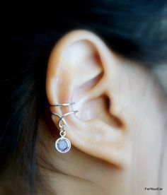 129) Simple Ear Cuff with Swarovski Crystal Birthstones. by ForYourEar on Etsy