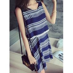 Wholesale Fashionable Sleeveless Double-Layered Printed Maternity Dress For Women (DEEP BLUE,L) | Everbuying