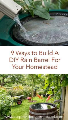 Are you looking for a cheaper way to water your garden and yard? Click here to see 9 ways to build a DIY rain barrel for your homestead and save money and water this year! #homesteading #gardening #gardentips #emergencypreparedness