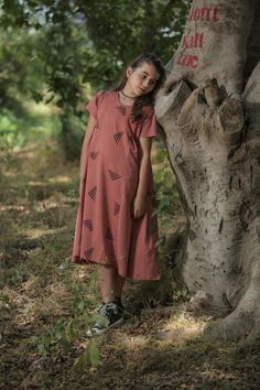 Terracotta Triangles Boho Dress