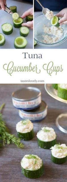 Healthy and delicious Tuna In Cucumber Cups. A cute lunch, snack or appetizer! #paleo #whole30 #lowcarb by lucia