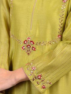Green Embroidered Silk Chanderi Kurta with Zari Work Embroidery Suits Punjabi, Embroidery On Kurtis, Kurti Embroidery Design, Hand Embroidery Dress, Embroidery Neck Designs, Embroidery Fashion, Indian Embroidery, Neckline Designs, Dress Neck Designs