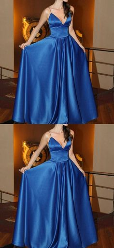 Simple v neck evening gowns, chic blue prom homecoming dresses, elegant party dresses.