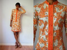 Vtg Mandarin Collar Spotted Print Orange Yellow by LuluTresors, $34.99