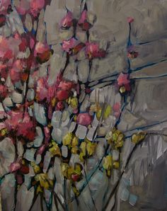 Jill Van Sickle: Masterful use of a dark underpainting allowed to show through to form the flower's stems.